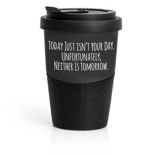 Pechkeks Misfortune Cookies 41033 Travel Mug HAPPINESS?WHEN YOU LEAVE Coffee to go, made of high-quality porcelain incl. Rubber sheath Made in EU