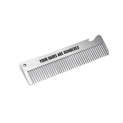 Pechkeks Misfortune Cookies 41036 - Comb made of metal 14,5 cm x 3,8cm built-in bottle opener Your Hairs Are Numbered